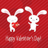 Valentines Day Card With Rabbits — Stock Vector