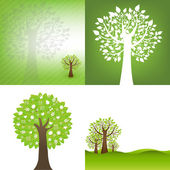 Green Background With Tree — Stock Vector