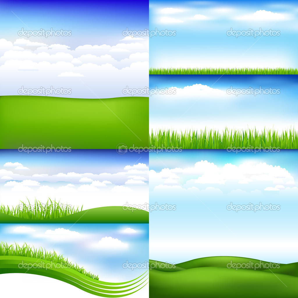 6 Landscapes With Clouds And Grass, Vector Illustration — Stock Vector #4877731