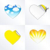 Corações em diferentes tipos — Vetor de Stock