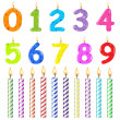 Stock Vector: Birthday Candles Of Different Form
