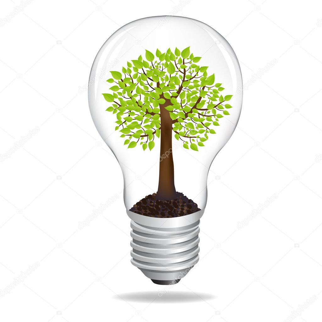 Tree In Light Bulb, Eco Concept, Isolated On White Background, Vector Illustration — Stock Vector #4942573