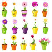 Květiny v květináčích — Stock vektor