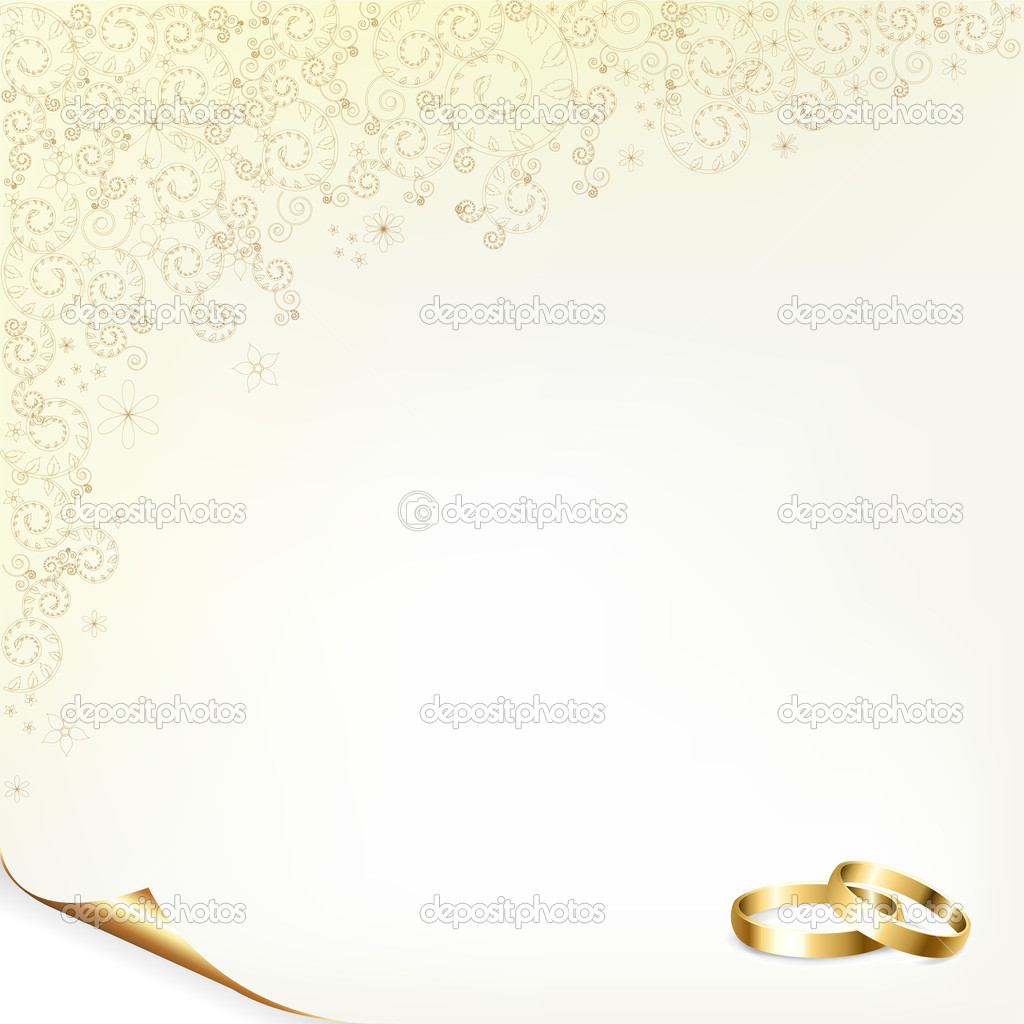 Wedding Background With Gold Rings, Vector Illustration — Stock Vector #4989339