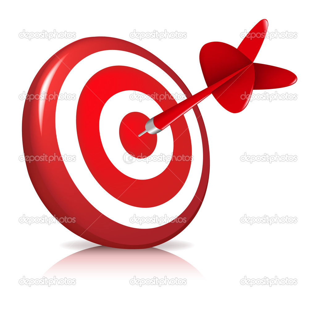 Dart Hitting A Target, Isolated On White Background, Vector Illustration  Stock Vector #5015038