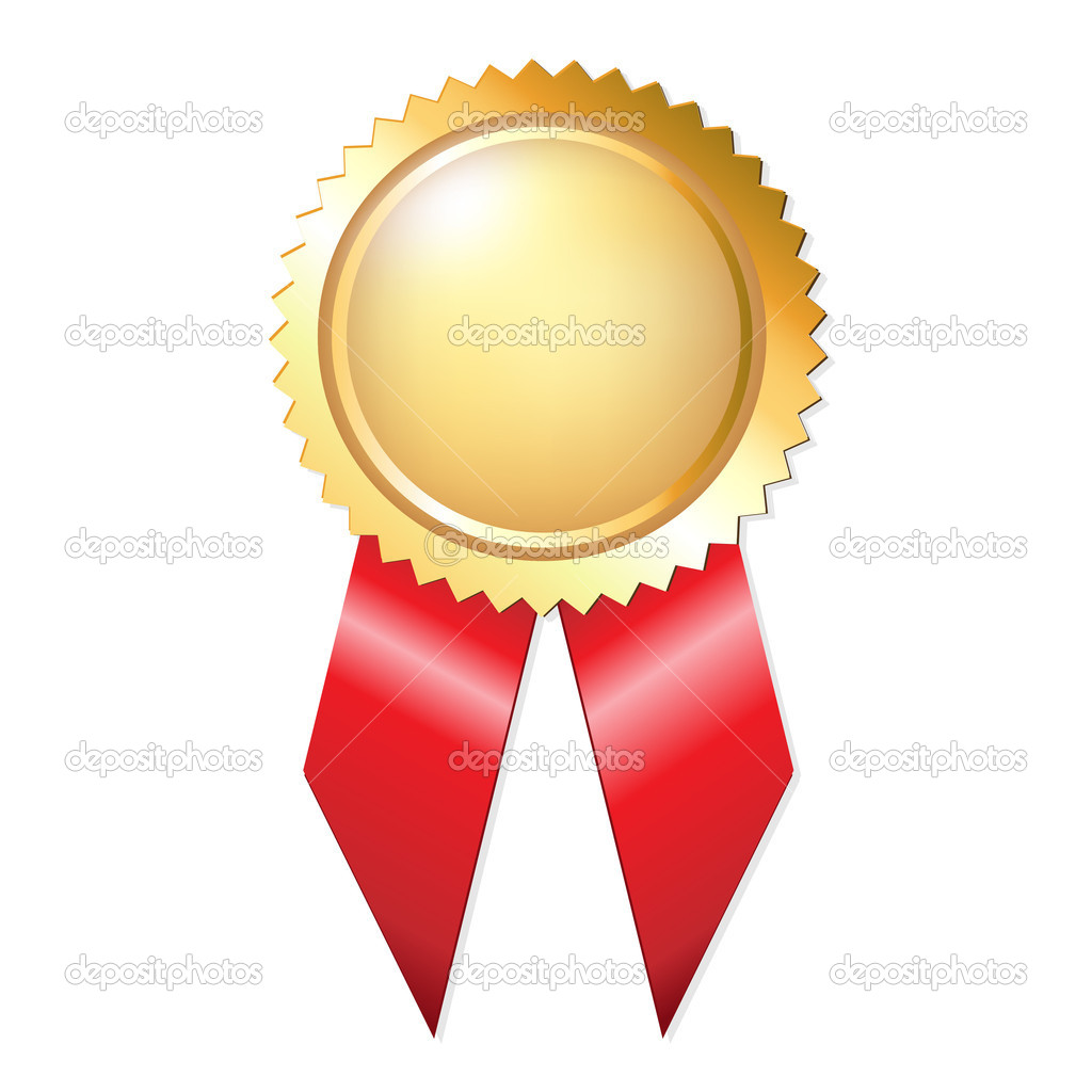 Gold Award Ribbons– stock illustration