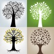 4 Different Trees — Stock Vector