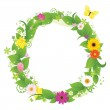 Wreath From Flowers And Leaves — Stock Vector #5150858