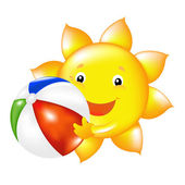 Sun With Beach Ball — Stock Vector