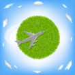 Green Planet And Plane - Stock Vector
