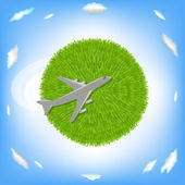Green Planet And Plane — Stock Vector