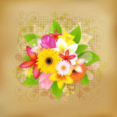 Flower Background On Old Paper — Stock Vector
