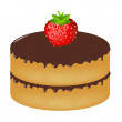 Stock Vector: Birthday Cake Wit Strawberry