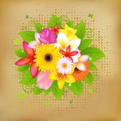 Flower Background On Vintage Paper — Stock Vector