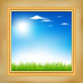 风景在木制框架 — 图库矢量图片
