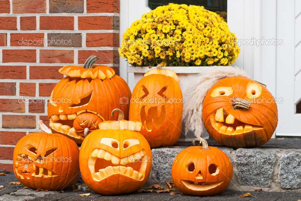 Six halloween pumpkin  — Foto de Stock   #3968827
