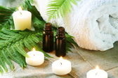 Spa Set of Towel, Candles and Oil — Stock Photo