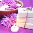 Herbal Soap, Aroma Bowl, Candles, Flowers — Stock Photo