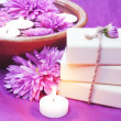 Stock Photo: Herbal Soap, Aroma Bowl, Candles, Flowers