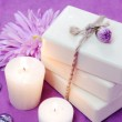 Herbal Soap with Candles and Flowers — Stock Photo