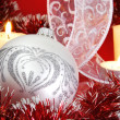 Silver Christmas Ball and Candles — Stock Photo