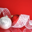 White and Red Christmas Balls with Ribbon — Stock Photo