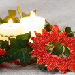Christmas Decorations with Candles and Ivy — Stock Photo