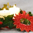 Christmas Decorations with Candles and Ivy - Foto de Stock