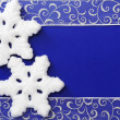 Stock Photo: Christmas Frame of Snowflakes and Ribbon