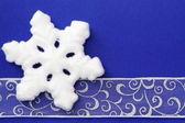 Christmas Border of Snowflake and Ribbon — Zdjęcie stockowe