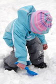 Child Playing with Snow — Stock Photo