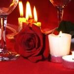 romantik sofra düzenlemesi — Stok fotoğraf