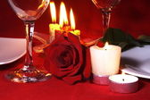 Romantic Dinner Table Arrangement — Stockfoto