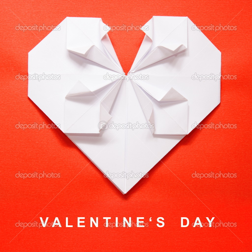 Valentine's Day White Heart on Red Paper Origami Card  Stock Photo #4700123
