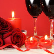 Stock Photo: Heart Candles, Red Roses and Wine