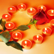 Candles Heart and Rose - 图库照片