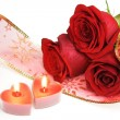 Stock Photo: Two Candle Hearts and Roses