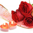 Two Candle Hearts and Roses - Stockfoto