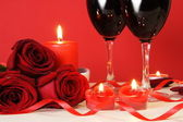 Heart Candles, Red Roses and Wine — Stockfoto