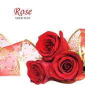 Three Red Roses Card — Stock Photo