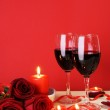Romantic Candlelight Dinner Concept Vertical — Stock Photo