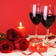 Romantic Candlelight Dinner Concept Horisontal - Stock Photo