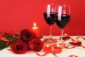 ロマンチックなキャンドル ライト ディナー概念水平 — ストック写真