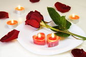 Romantic Inviting Table with Rose and Candles — Stock Photo
