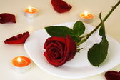 Table Setting for Romantic Candlelight Dinner — Stock Photo