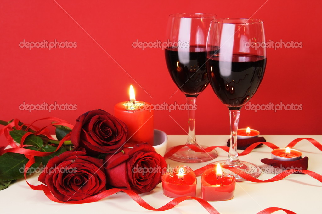 Romantic Candlelight Dinner for Two Lovers Concept Horisontal — Stock Photo #4751135