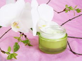 Moisturizer with White Orchid — Stock Photo