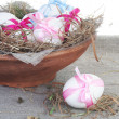 White Easter Eggs in Nest Bowl — Stock Photo