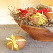 Brown Easter Eggs in Nest Bowl — Stock Photo