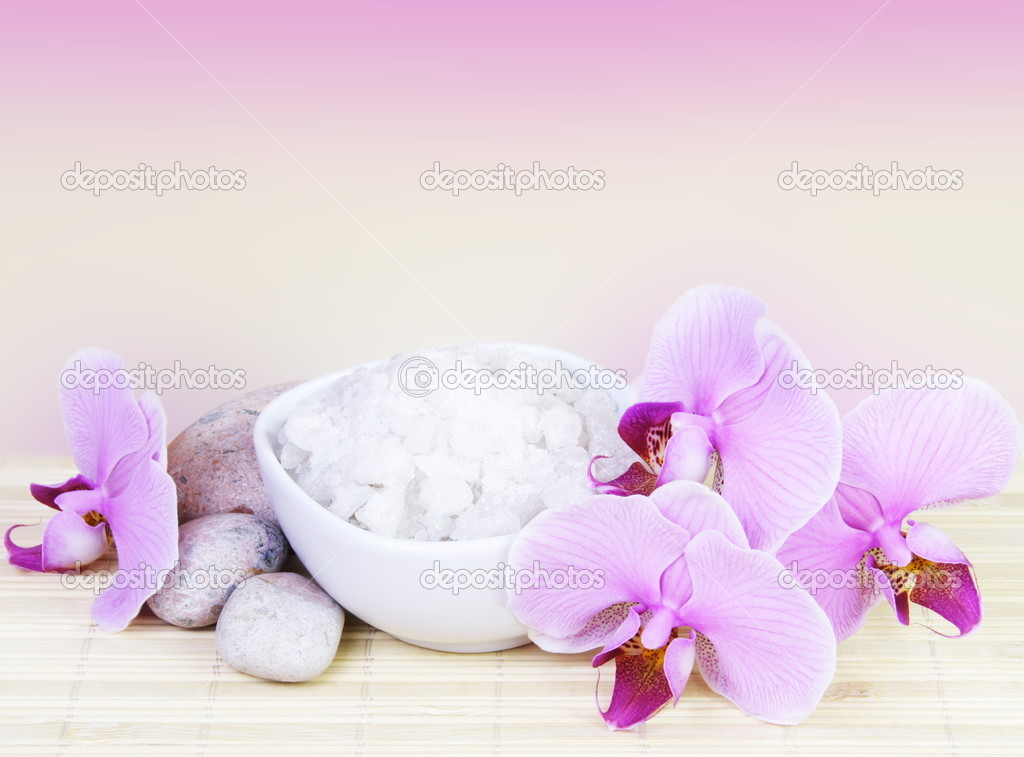 Spa Still Life with Pink Orchids and Salt — Stock Photo #5012605